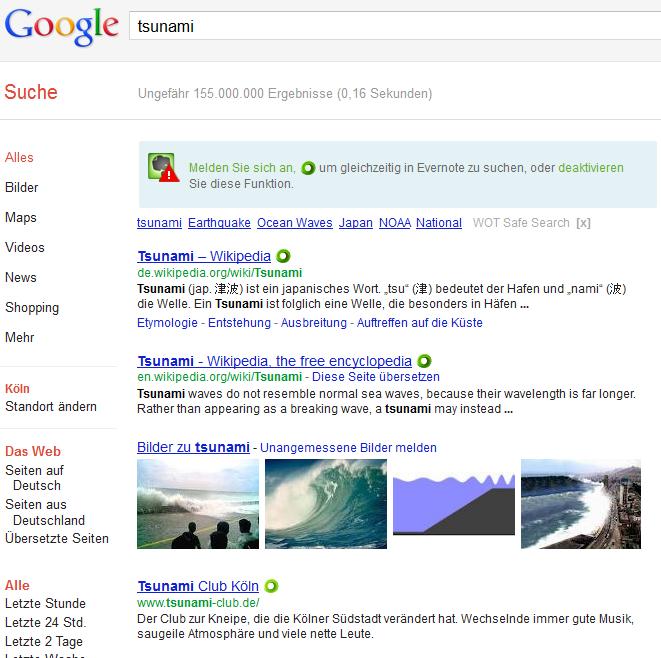 Suche ohne Operator bei Google