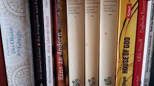 Bücherregal mit Übersetzungen zu Tag der Übersetzung Shakespeare Schmidt