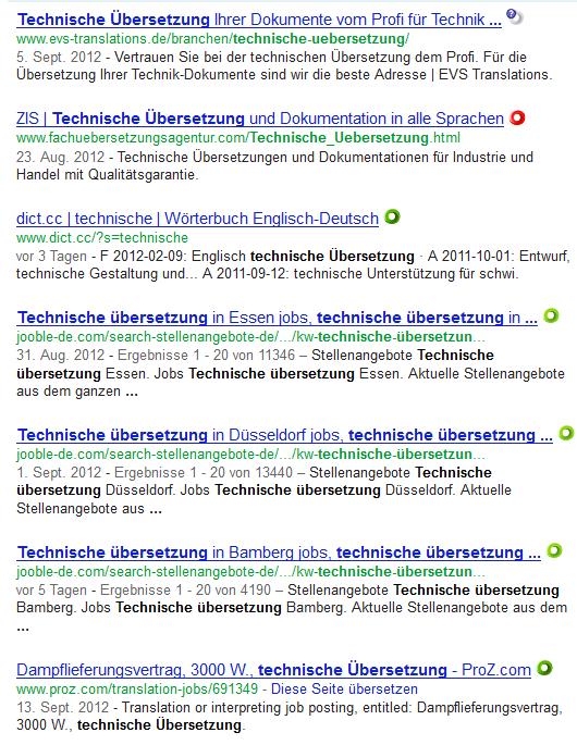 Ergebnisseite zu technische Übersetzungen - Tag der Übersetzung