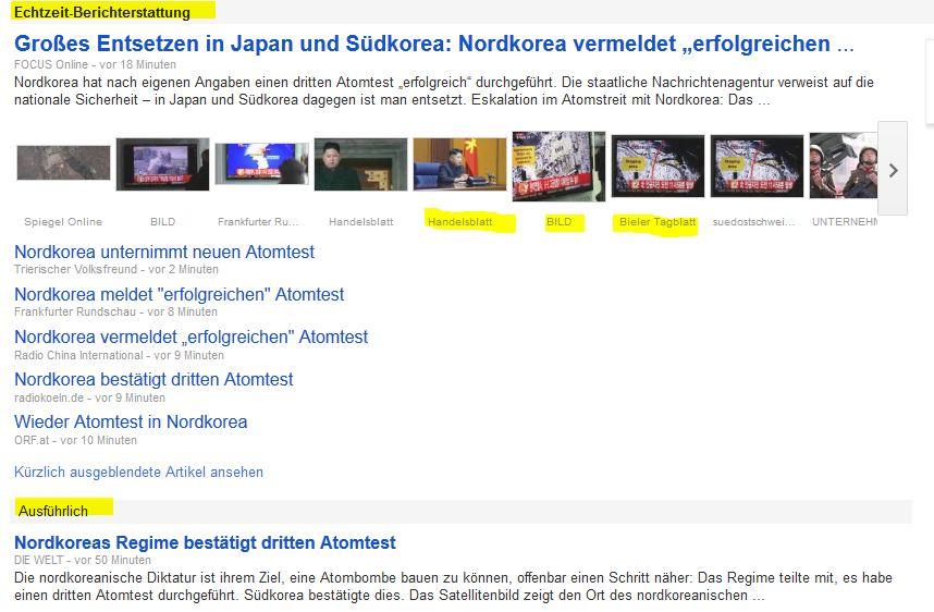 """Echtzeit-Schlagzeieln vom 12.2.13 - mit der Kategorie """"Ausführlich"""" und den Quellenangaben unter den Bildern"""