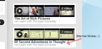 Ausschnitt aus der Liste von Videos bei der Open University
