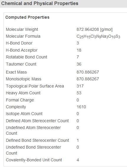 Eigenschaften wie Gewicht und Masse am MEnde der PubChem-Ergebnisseite