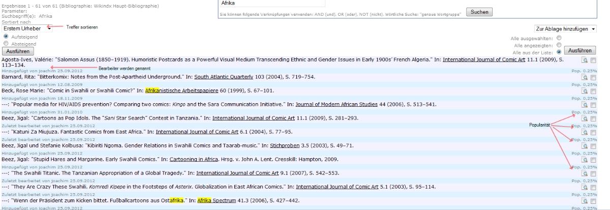 Die Ergebnisseite als Liste - die Titel sind Links zu den ausführlichen Angaben