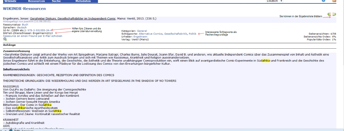 Je nach Verfügbarkeit gibt es Abstract oder Inhaltsverzeichnis; die Vollanzeige bei der Online-Bibliographie ist wirklich hilfreich