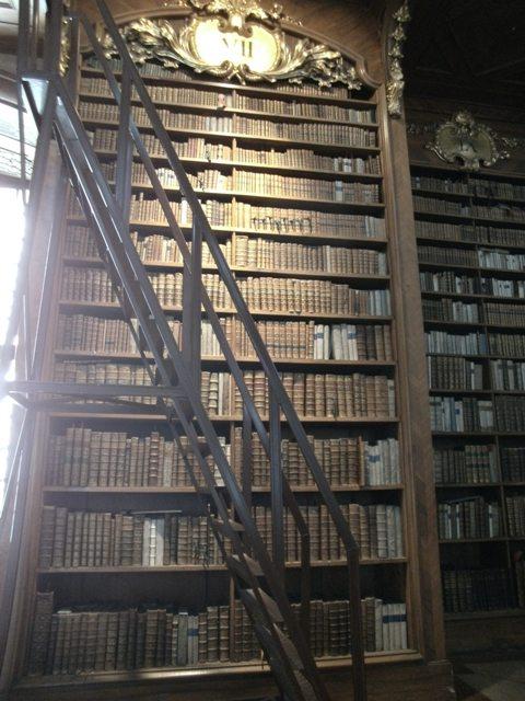 Ein Bücherschrank mit Treppe und erkennbarer Christbaumaufstellung. Foto: NMaria Meurer