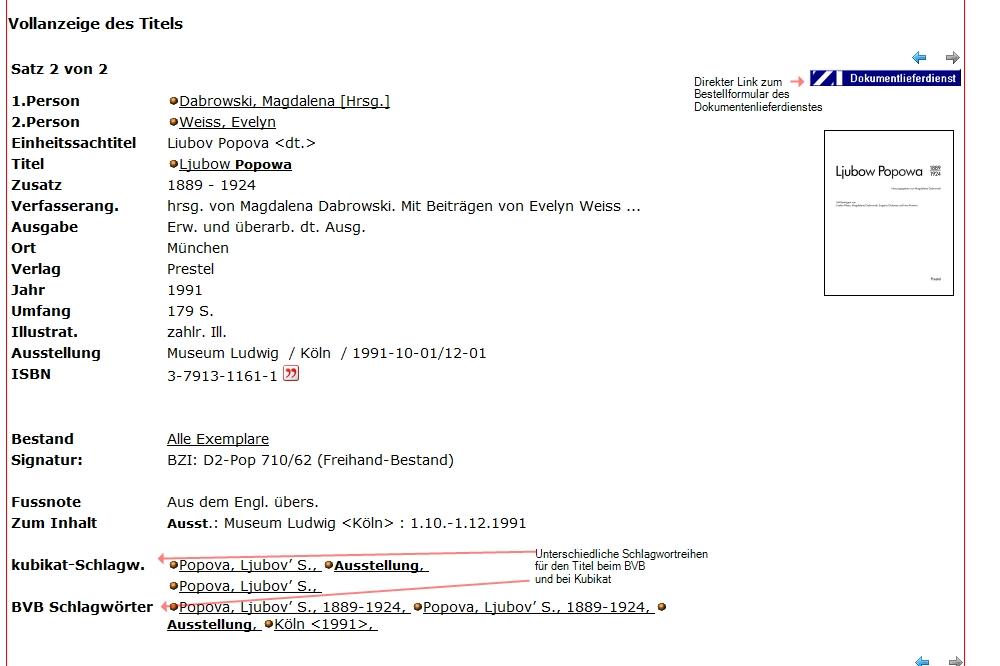 Das Besondere an dieser Katalogkarte sind die unterschiedlichen Schlagwortreihen für den BVB und Kubukat selber - die BVB-Schlagworte finden Sie dann auch,wenn Si eüber den KVK (Metakatalog) suchen
