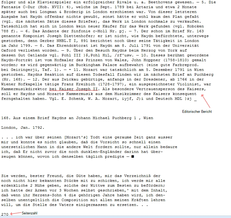 Die letzte Erwähnung von Joseph II stammt aus dem editorischen Breicht.