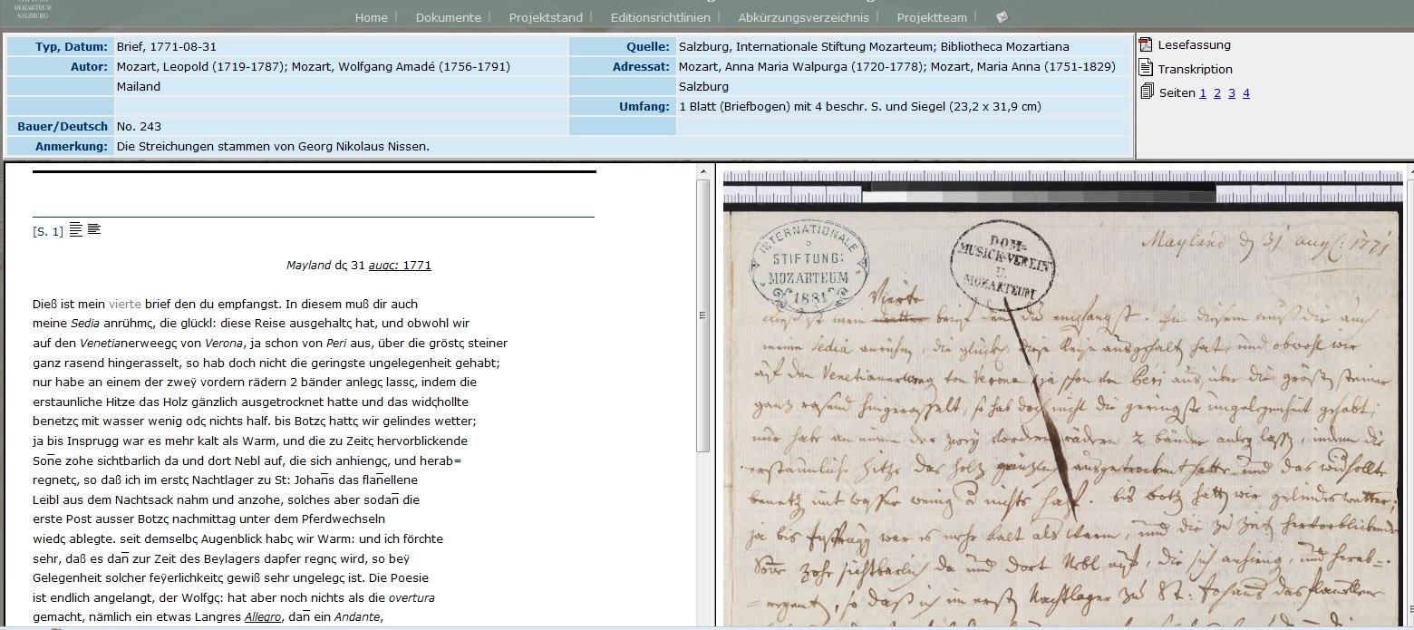 So sieht ein digitalisierter Brief der Familie Mozart aus