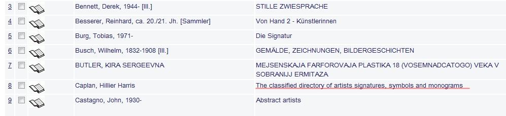 Ein Beispiel für so eine Sammlung von Signaturen & Co aus der Kölner Kunst- und Museumsbibliothek.
