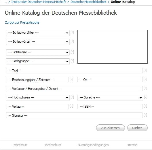 Suchfelder bei der Deutschen Messebibliothek - Erweiterte Suche