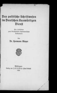 Die digitalisierte Titelseite des Buches von Hermann Meyer von der Seite https://archive.org/details/daspolitischesch00meye
