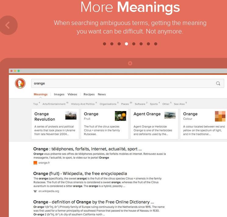 """DuckDuckgos Beispiel: Was kann alles mit """"orange"""" bezeichnet werden."""