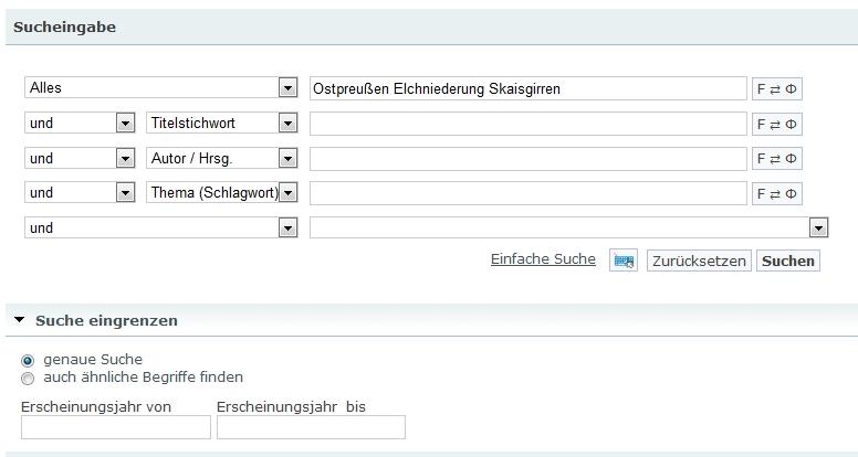 Erweiterte Suche - mit Transliteratationsmöglichkeit für die einzelnen Zeilen.