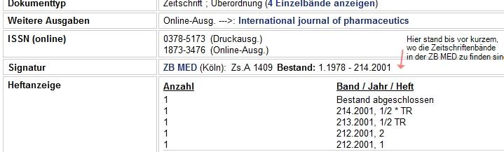 So sehen die Angaben zu zeitschriften jetzt aus - welche Hefte usw., aber es fehlt die Angabe auf den physischen Ort in der ZB Med selber