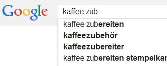 """Das bietet Google zur Auswahl an, wenn Sie """"Kaffee"""" eingeben"""