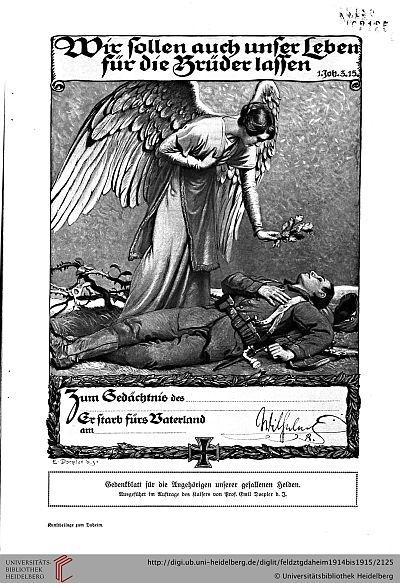 Gedenkblatt für die Gefallenen mit Unterschrift des Kaisers