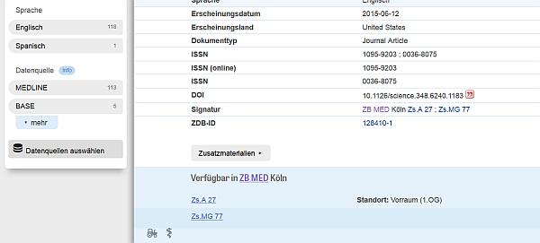 """Wenn bei der Katalogkarte unten ein Reiter """"Im ZB-MED-Bestand"""" hängt, klappt ebim Anklicken die Info dazu auf."""