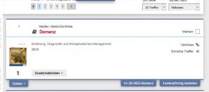 Der erste Eintrag einer Ergebnisseite in LIVIVO - mit der Option, jede Menge Informationen durch Aufklappen der blauen Links hinzuzubekommen