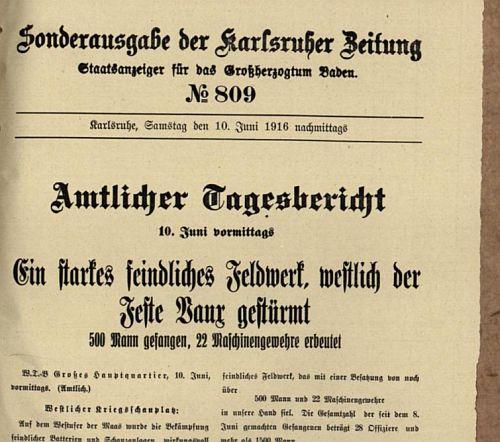 Ein Ausschnitt aus der Sonderausgabe vom 10.6.1916 - 22 Maschinengewehre als Grund zum Jubeln ...