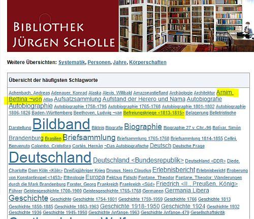 """Mit solchen """"Wolken"""" ist der Bestand der Bibliothek Jürgen Scholle erschlossen. Klickt man einen begriff an, kommt man zur Ergebnisseite der USB, bei der je nach Schriftgröße des Begriffs ein oder mehrere Titel aufgeführt werden"""