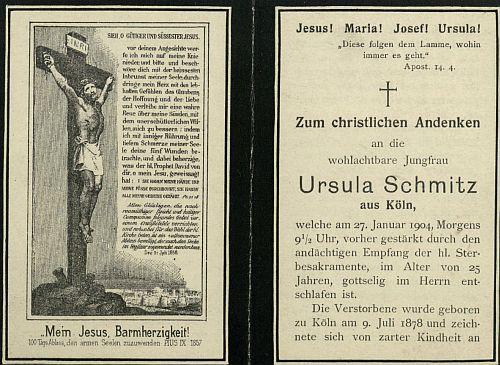 Die Zettel werden mit Innen- und Außenseite digitalisiert, so dass zwei Bilddokumente entstehen; hier handelt es sich um die Außenseite des Totenzettels für ein Frau, die im Alter von nur 25 Jahren starb.