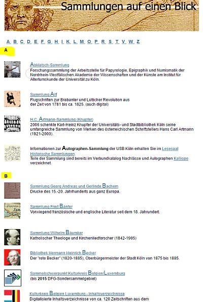 Alphabetisch: Die für die Sortierung relevanten Bezeichnungen sind im namen der Sammlung jeweils fett gedruckt