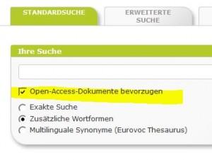"""Bei der Suche können Sie Open Access """"bevorzugen"""""""