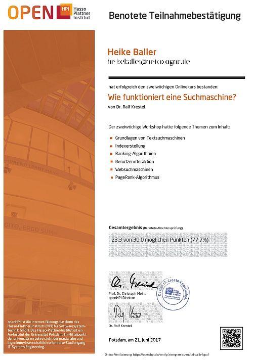 HPI online Kurs Suchmaschinen Zeugnis