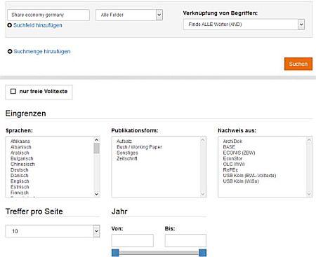 Econbiz erweiterte Suche, ZBW