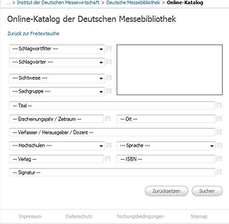 Spezialbibliotheken Messebibliotheke KatalogSuchfelder