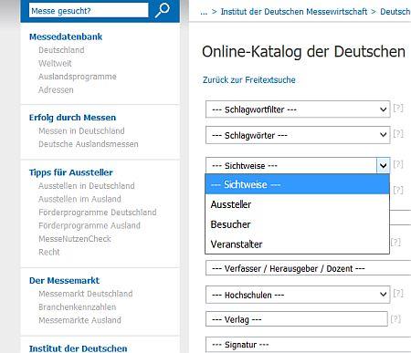 Spezialbibliotheken Messebibliothek Katalog Zielgruppen