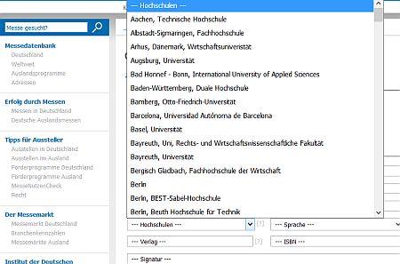 Spezialbibliotheken Messebibliotheke Katalog Filter Hochschulen