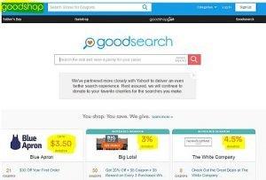 Suchmaschine Goodsearch Startseite voll Werbung