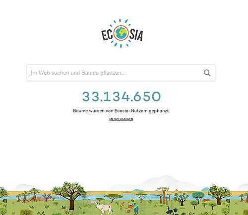 Ecosia umweltfreundlich Suchmaschine Bäume pflanzen Startseite