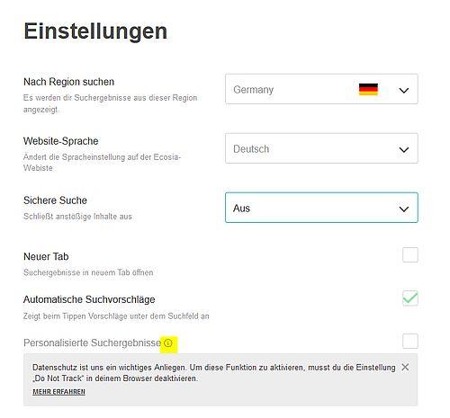 Ecosia Alternative zu Google Seite Einstellungen für Safe Search, Personalisierte Ergebnisse udn mehr