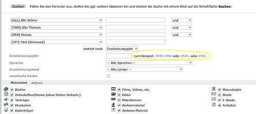 Formular für die erweiterte Suche im Katalog der Herzogin-Anna-Amalia-Bibliothek