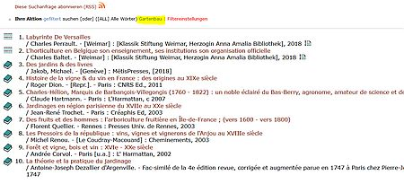 """Eintrag aus dem Katalog der Herzogin-Anna-Amalia-Bibliothek bei einer Suche mit Sprachfilter """"Gartenbau"""" Sprache: Französisch"""""""