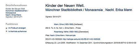 """Detailansicht aus Kalliope zu Typoskript im Nachlass von Erika Mann in der Monacensia """"Kinder der neuen Welt"""""""