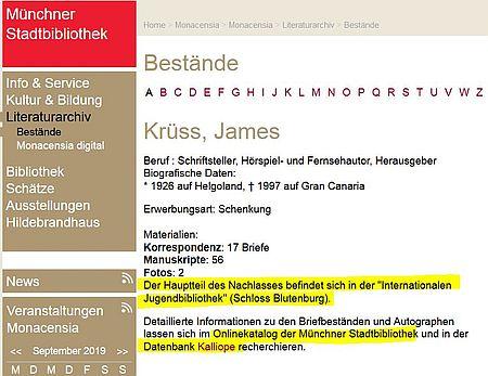 Ausschnitt aus Datenbankeintrag zu James Krüss aus dem Literaturarchiv Monacensia