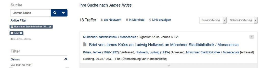 Bestand Briefe von James Krüss im Literaturarchiv Monacensia nachgewiesen bei Kalliope
