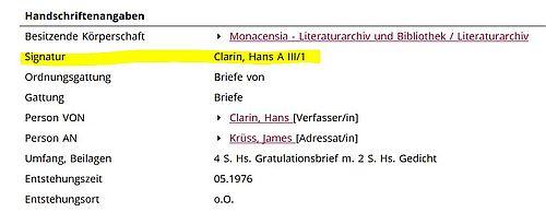 Einzeltreffer Krüss Literaturarchiv Monacensia