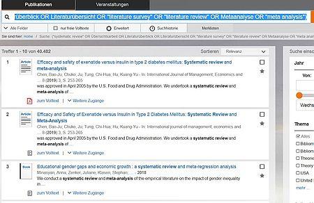 Screenshot Trefferliste EconBiz Überblicksliteratur