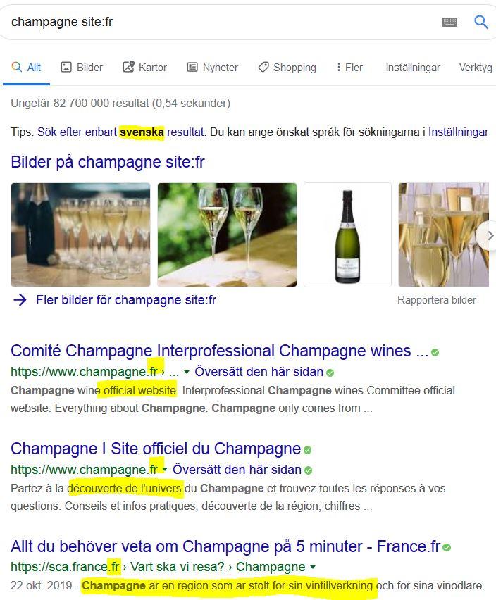 Bei selteneren Sprachen gibt es z. B. französische Ergebnisse bei der Frage nach Champagner mit site:fr, aber auch englischsprachige und welche in der Landessprache. Bsp. Schwedisch