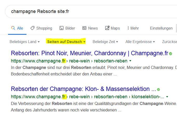 """Sucha nach deutschsprachigen Ergebnisse mit """"Seiten auf Deutsch"""" und dre frage Champagne Rebsorte site:fr - zwar """"französische Ergebnisse"""", die aber gezielt auf Deutsch"""