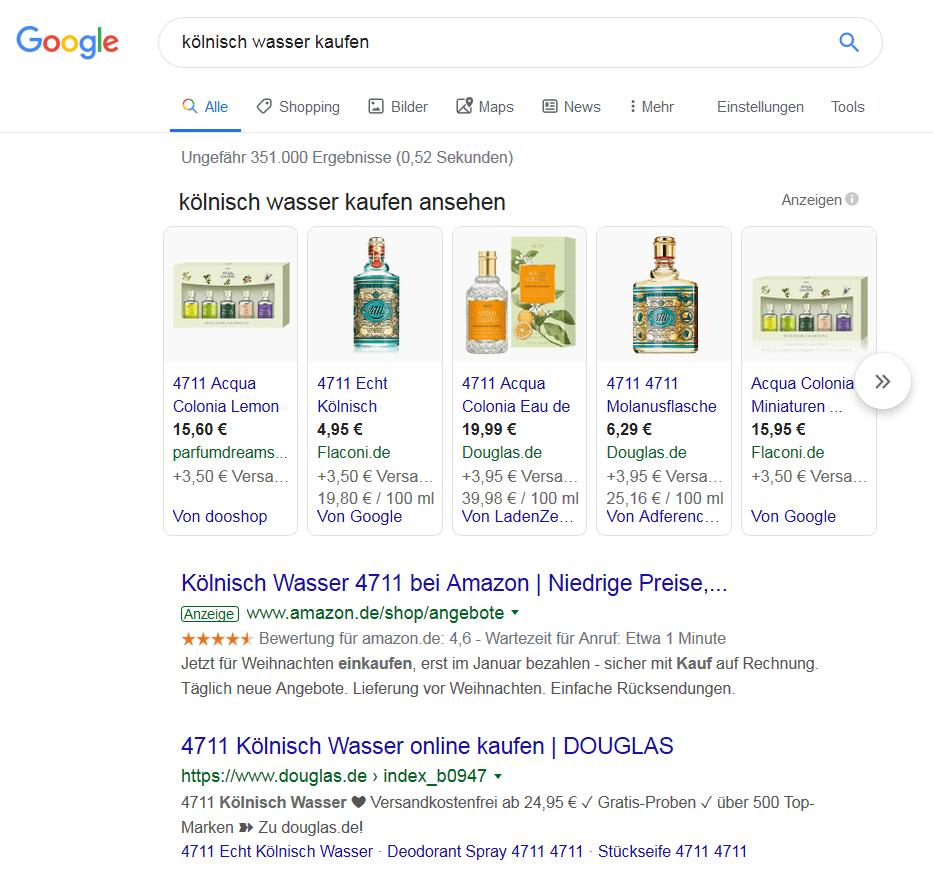 """Screenshot zur Google-Frage """"könisch wasser kaufen"""" im Beitrag zum Blogwichteln 2019/20 von Katja Flinzner"""
