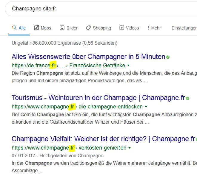"""Screenshot  zu Googlesuche  """"Champagne site:fr"""" - keine französischen Ergebnisse, sondern deutschsprachige"""