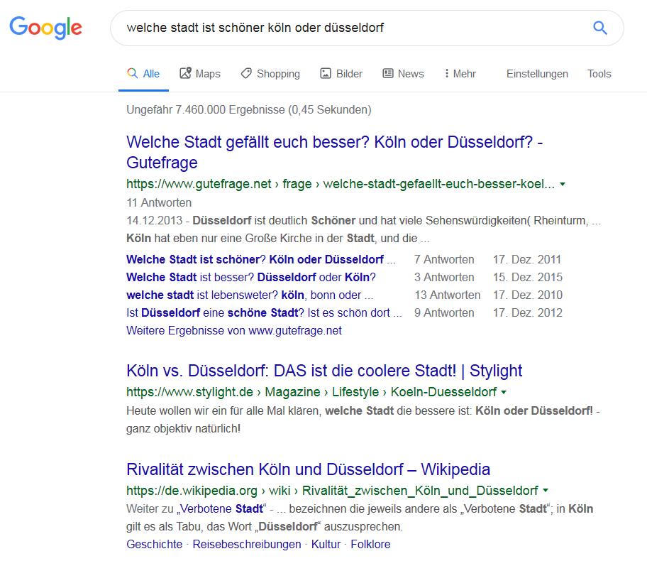 """Screenshot zur Google-Frage """"Welche Stadt ist schöner - Köln oder Düsseldorf"""" im Betrag zum Blogwichteln 2019/20 von Katja Flinzner"""