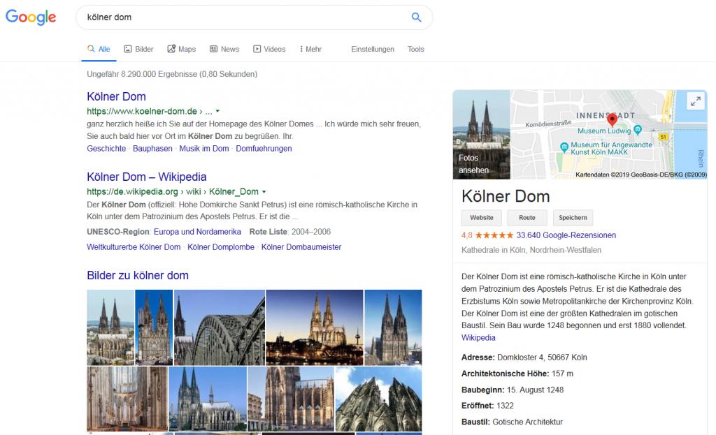 """Screenshot zur Google-Frage """"Kölner Dom"""" im Betrag zum Blogwichteln 2019/20 von Katja Flinzner"""