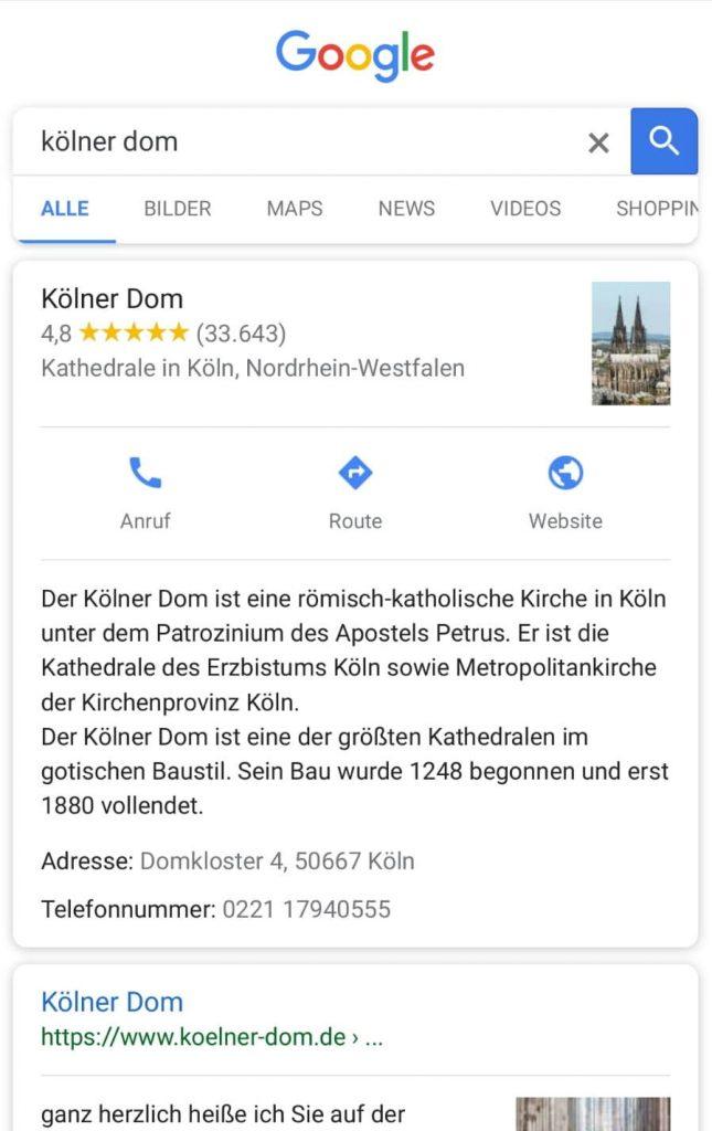 """Screenshot zur Smartphone-Google-Frage """"Kölner Dom"""" im Beitrag zum Blogwichteln 2019/20 von Katja Flinzner"""