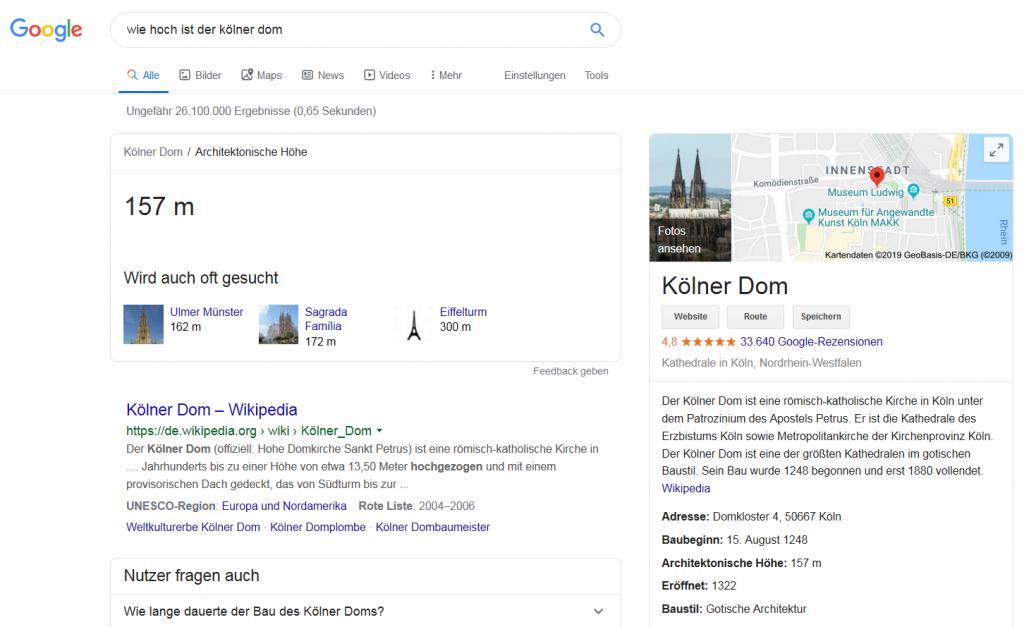 """Screenshot zur Google-Frage """"Wie hoch ist der Kölner Dom"""" im Betrag zum Blogwichteln 2019/20 von Katja Flinzner"""